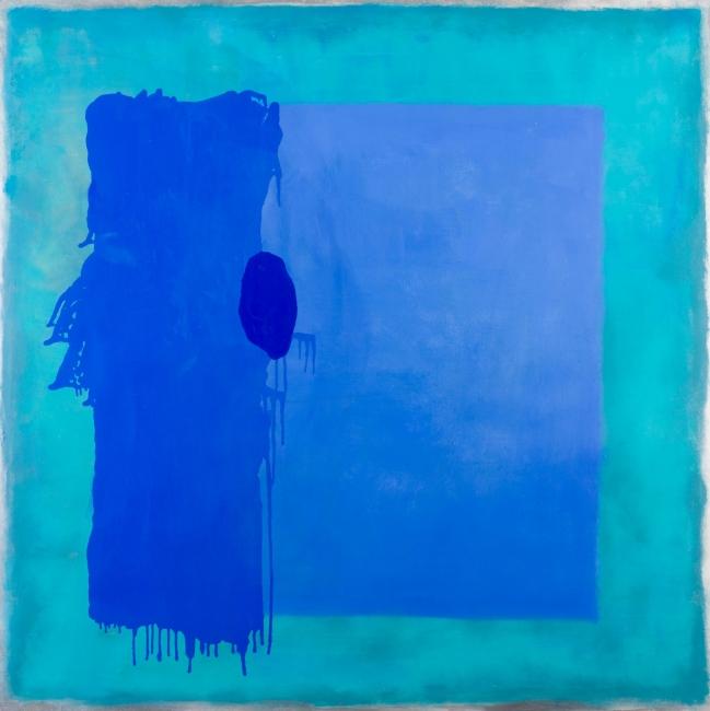 BELÉN CONTHE, Horizonte de agua, 2017, 150 x 150 cm. óleo sobre tela | Ir al evento: 'Nadie sabe de que color es el horizonte'. Exposición en Ansorena / Madrid, España