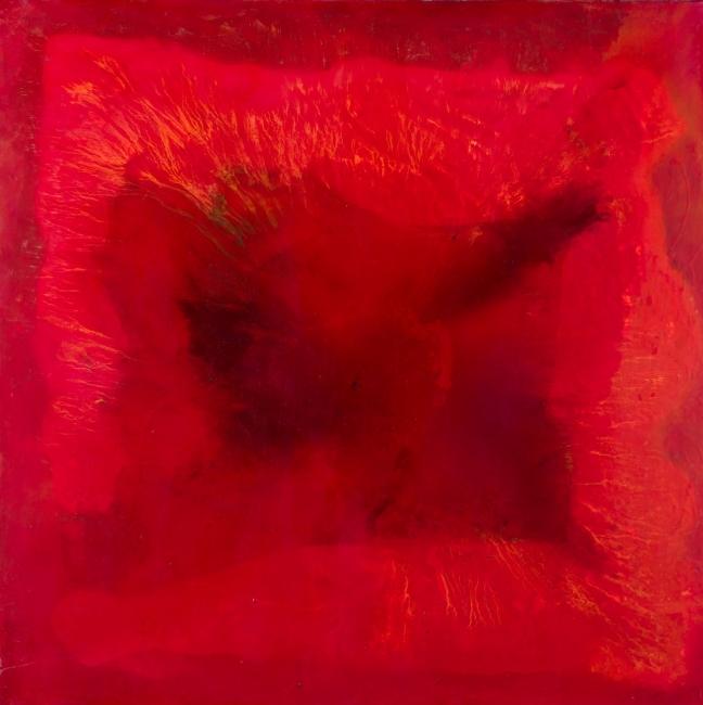 BELÉN CONTHE, Horizonte interiores, 2017, 100 x 100 cm. óleo sobre tela | Ir al evento: 'Nadie sabe de que color es el horizonte'. Exposición en Ansorena / Madrid, España