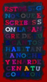 ENTRE DOS CITAS. Imagen. Libro Quemado (Burnt Book), 1992. Esmalte, pastel seco y tinta sobre papel montado sobre tela. Instalación de 13 páginas individuales. 26,5 x 14 cm c/u (detalle)
