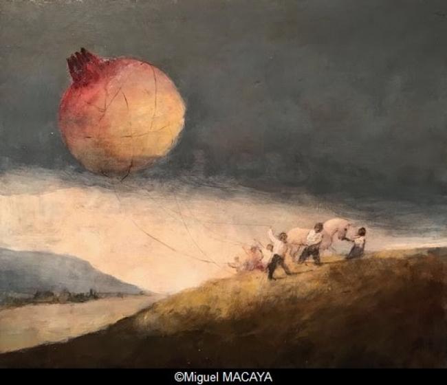 Miguel MACAYA, huile sur bois, 50 x 60 cm.  – Cortesía de la Galerie Arcturus