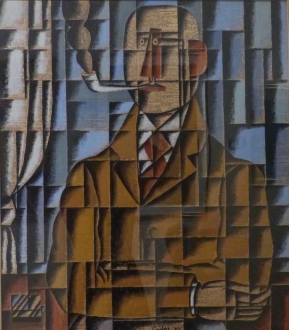 Manuel Pailós. Uruguay, 1918-2004. Hombre de la pipa, técnica mixta sobre papel, 76 x 66 cms. 1984