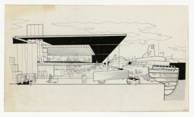 Fred Olsen Amenity Building (1968-1970) © The Norman Foster Foundation – Cortesía de Espacio Fundación Telefónica | Ir al evento: 'Norman Foster: Futuros Comunes'. Exposición en Espacio Fundación Telefónica / Madrid, España