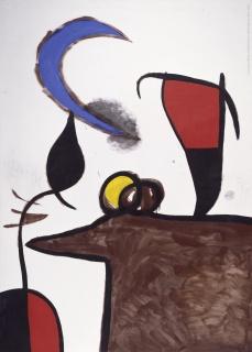 MIRÓ: LA EXPERIENCIA DE MIRAR. Femme, oiseau dans la nuit, 1974. Imagen cortesía del Museo Nacional de Bellas Artes de Argentina