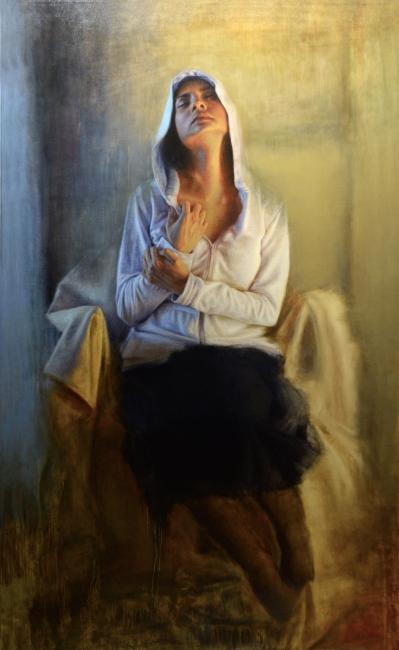 ANUNCIACIÓN. Felipe Quiñones Araya. Dualidad - Óleo sobre tela - 180 x 110 cm. Imagen cortesía Bahía Utópica