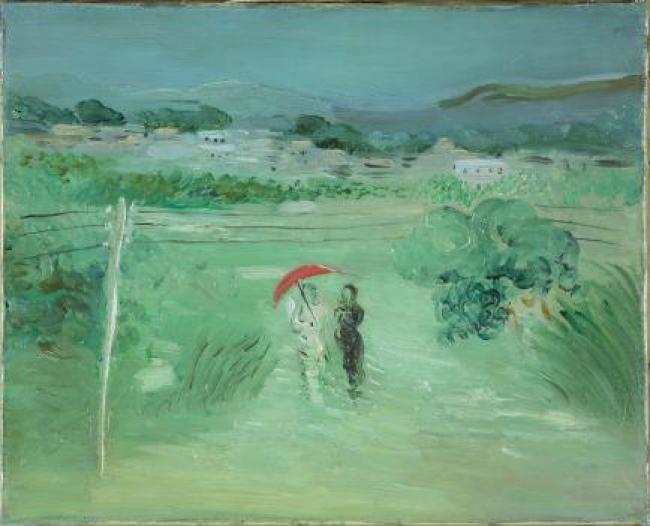 Esteban Vicente. Paisaje con sombrilla roja 1931 Óleo sobre lienzo, 33x41 cm. — Cortesía del Museo de Arte Contemporáneo Esteban Vicente