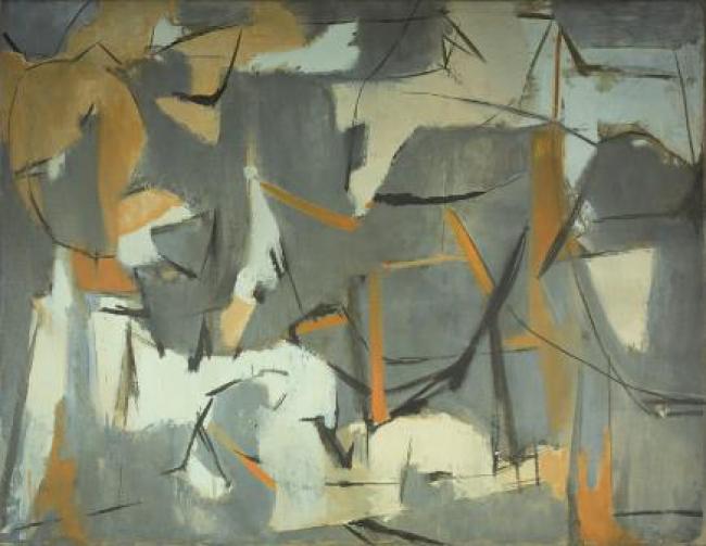 Esteban Vicente. Number 5, 1950. Óleo sobre lienzo 89 x 115 cm — Cortesía del Museo de Arte Contemporáneo Esteban Vicente