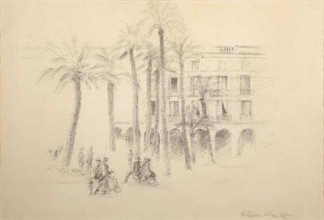 Esteban Vicente. Untitled (Barcelona), 1930. Dibujo a tinta sobre papel, 34x50 cm. — Cortesía del Museo de Arte Contemporáneo Esteban Vicente