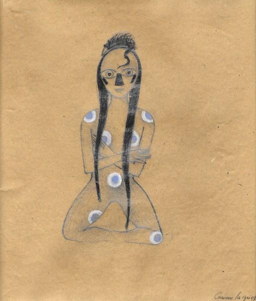 Carmen La Griega. Mujer rata blue. 2015. Carbón y pastel sobre papel de estraza. 26 x 25 cm