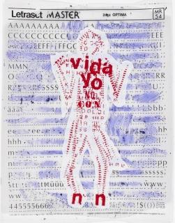 """Toda la verdad"", 1983. Monotype print and ink on Letraset acetate. 9 3/8 x 7 1/2 in. (24.1 x 19.3 cm)"
