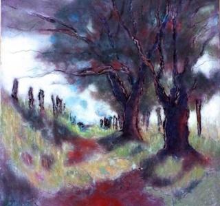 Andy Newman, Cévenes Lane 1, óleo sobre madera, 36x36 cm. — Cortesía de Arte Periférica