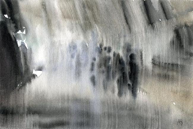 Extraños, 2016. Acuarela sobre papel, 17,5x25 cm
