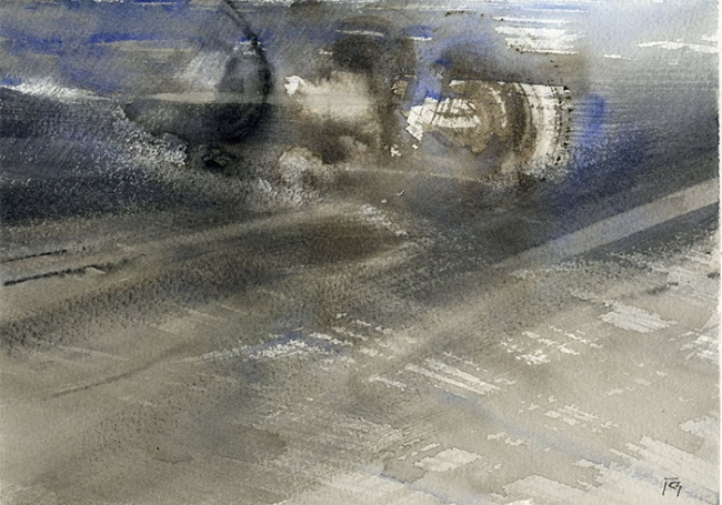 Viento, 2016.  Acuarela sobre papel, 18,5x25 cm
