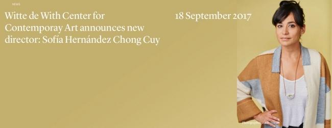 Pantallazo de la web del Witte de With | La mexicana Sofía Hernández Chong Cuy, nueva directora del Witte de With
