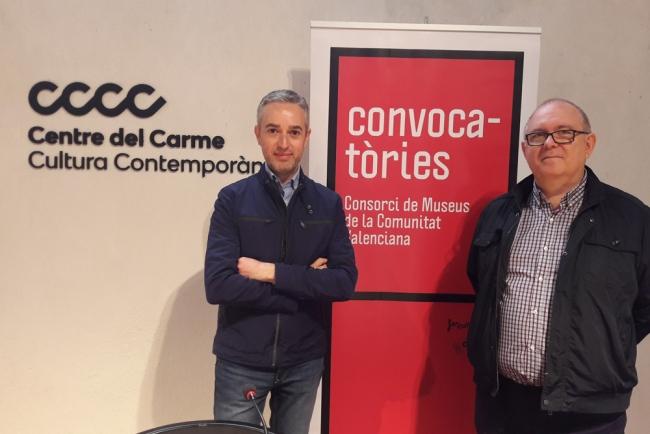 Director gerente del Consorci de Museus de la Comunitat Valenciana, José Luis Pérez Pont (izqda.), y el secretario general del IVAJ, Jesús Martí Nadal | El Consorci de Museus de la Comunitat Valencianaresuelve sus cuatro convocatorias expositivas para el periodo 2018-2020