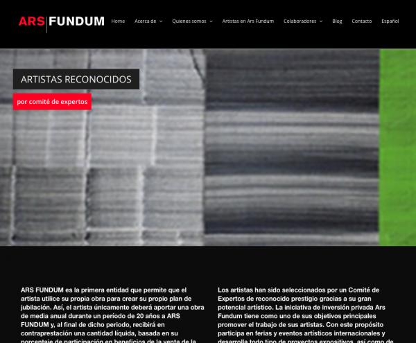 Imagen de la web de Ars Fundum | Ars Fundum, una colección de artistas que combina promoción y rentabilidad