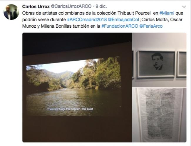 Pantallazo del mensaje en Twitter de Carlos Urroz | Carlos Urroz confirma la presencia de artistas colombianos de la colección Thibault Poutrel durante ARCOmadrid 2018