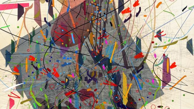 Julie Mehretu Zero Canyon (a dissimulation), 2006 Tinta y acrílico sobre lienzo 304.8 x 213.4 cm (JM 1290.06) Cortesía de la artista y Marian Goodman Gallery, Nueva York. © Julie Mehretu. Cortesía del Centro Botín | 12 exposiciones en España: destacan las producciones en Centro Botín, Museo Picasso Málaga, Fundació Antoni Tàpies y CGAC