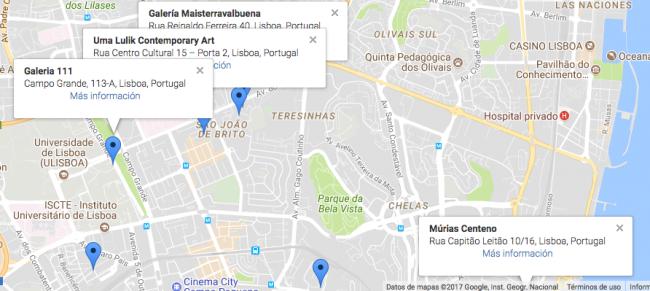 Vista de Ulma Lulik en Alvalade, junto a Maisterravalbuena, 111 y Múrias Centeno. Imagen de la app ArtCity by ARTEINFORMADO | Uma Lulik, nuevo espacio de arte contemporáneo sudamericano en Lisboa