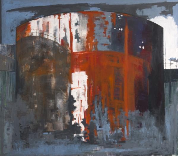 Gazometro 2002, oleo sobre lienzo, coleccion particular, Londres