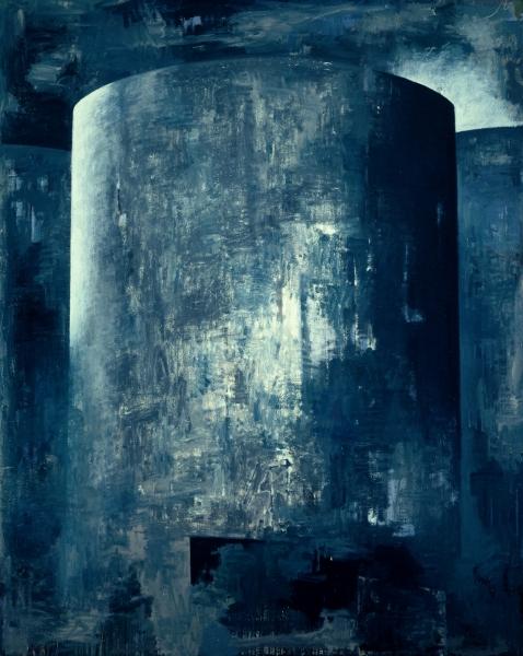 Gazometro 2002, oleo sobre lienzo 200 x 160 cm