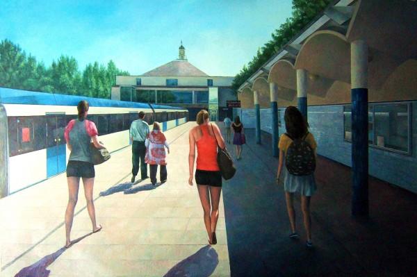 LA ESTACIÓN DE LAGO; Óleo/tabla, 150 x 100 cm. 2010. | Ir a la ficha del Artista 'Consuelo Hernández'