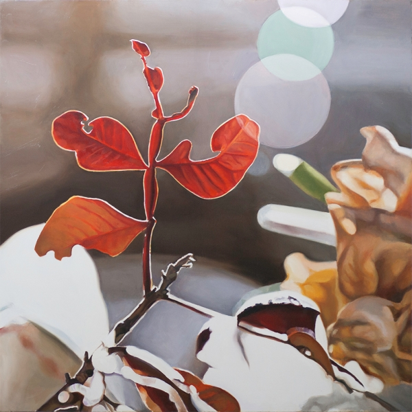 Naturaleza urbana con hoja roja | Ir a la ficha del Artista 'Maite Bäckman'