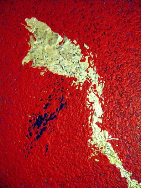 Lago dorado I [acrílico y pan de oro sobre tablex] 2015 (122x100) | Ir a la ficha del Artista 'Requena Nozal'