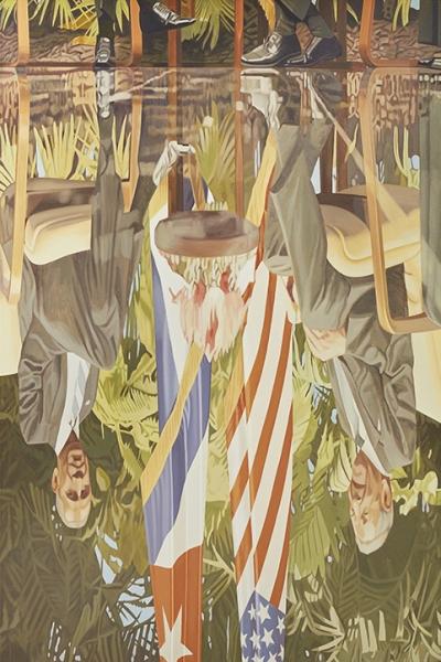Espejismo con palmeras y estrellas | Ir a la ficha del Artista 'Miguel Aguirre'