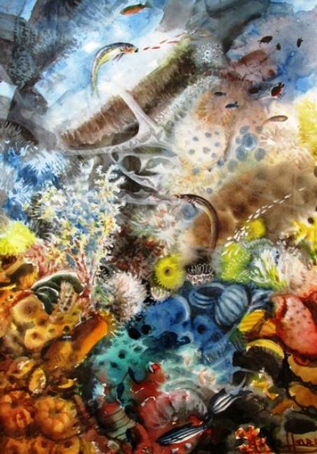 Aguas en ocre// acuarela// 52x80 // año 1998// Precio: 15.000 € | Ir a la ficha del Artista 'Antonio Domínguez de Haro'