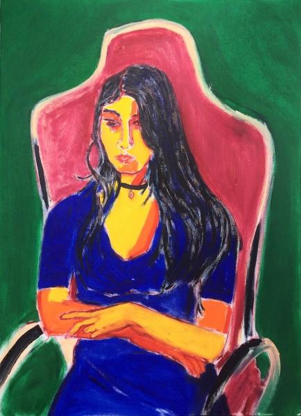 La joven poeta - óleo sobre papel entelado - 70 x 50 cm - 2016