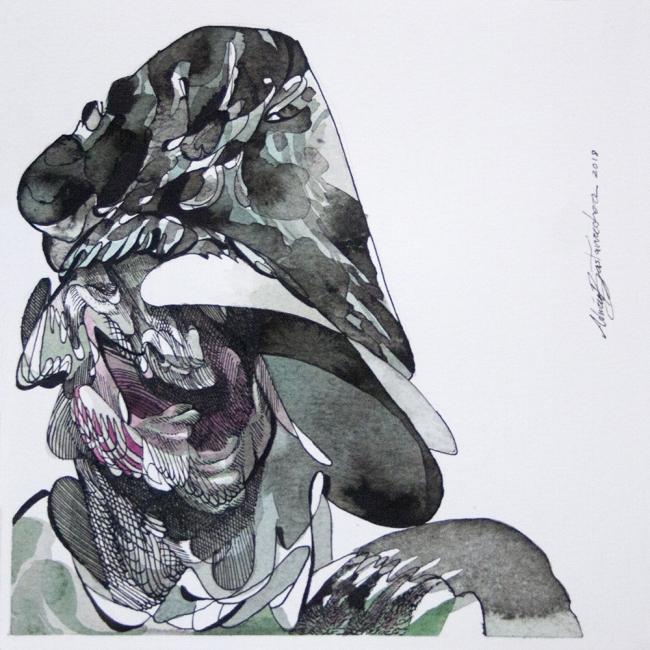 Policía. Tinta y acuarela sobre papel. 2018 | Ir a la ficha del Artista 'Adrián Bastarrachea'