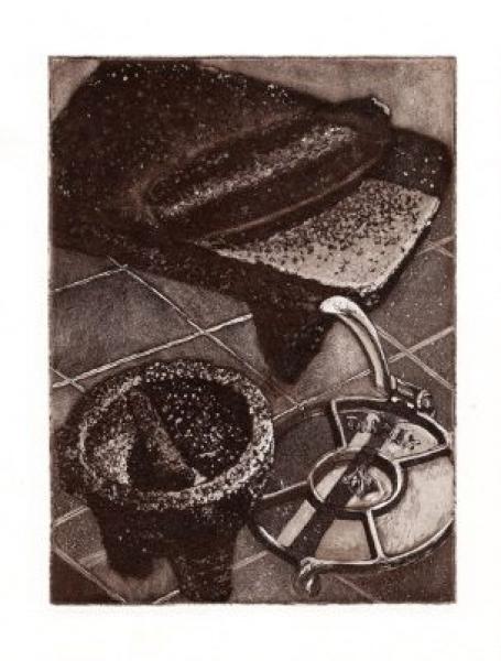 En la cocina » 43 x 53 cm, aguafuerte sobre cobre, grabado