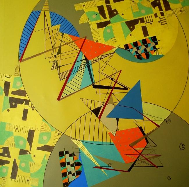 Composición XI-2010. Acrilico s-tela. 170x170cm