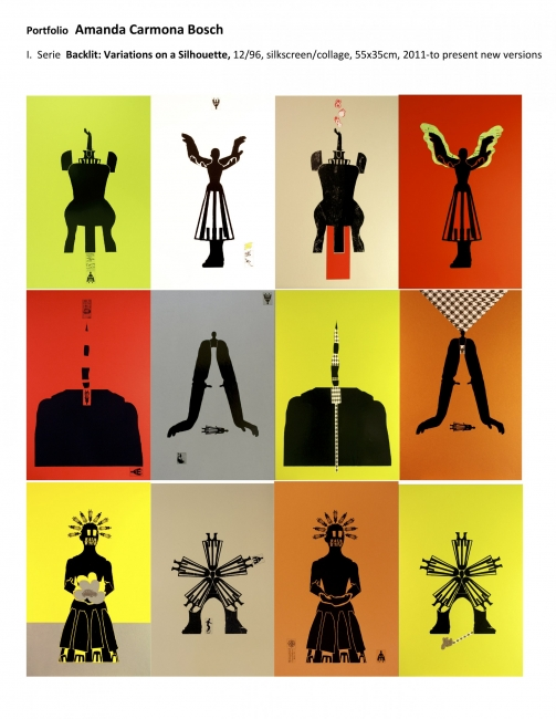 Serie A Contraluz: Variaciones sobre una silueta, 2011-hoy, collage/serigrafñia/papel, 55x35cm
