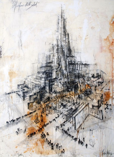 "De la serie \""huérfanos de Babel\"" / 200 x 144 cm / 2015"